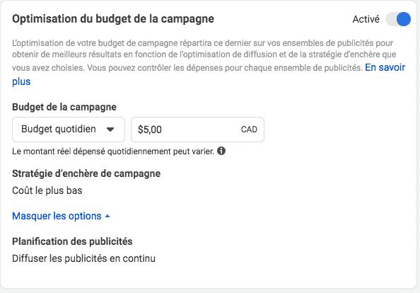 budget campagne facebook