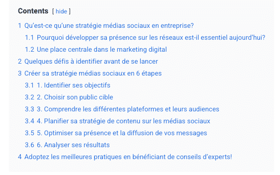 Exemple de structure de contenu web